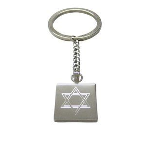 Etched Religious Star of David Keychain
